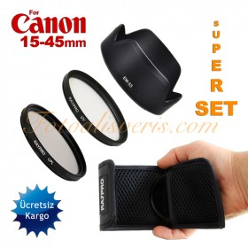 Canon 15-45mm Lens için 49mm UV + Polarize Filtre + EW-53 Parasoley Seti