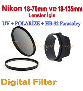 Nikon 18-70mm & 18-135mm için 67mm Uv + Polarize Filtre + Parasoley Seti