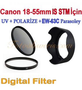 Canon 18-55mm IS STM için 58mm Uv + Polarize + Parasoley Seti