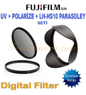 Fujifilm İçin 58mm UV + Polarize Filtre + LH-HS10 Parasoley Seti