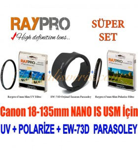Raypro 67mm HD Ultra Slim UV + Polarize Filtre + EW-73D Parasoley Seti