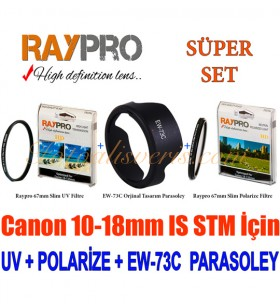 Raypro 67mm HD Ultra Slim UV + Polarize Filtre + EW-73C Parasoley Seti